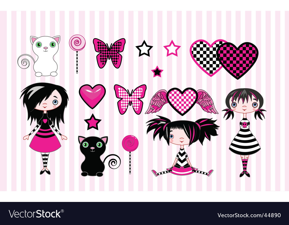 Emo girls vector | Price: 3 Credit (USD $3)