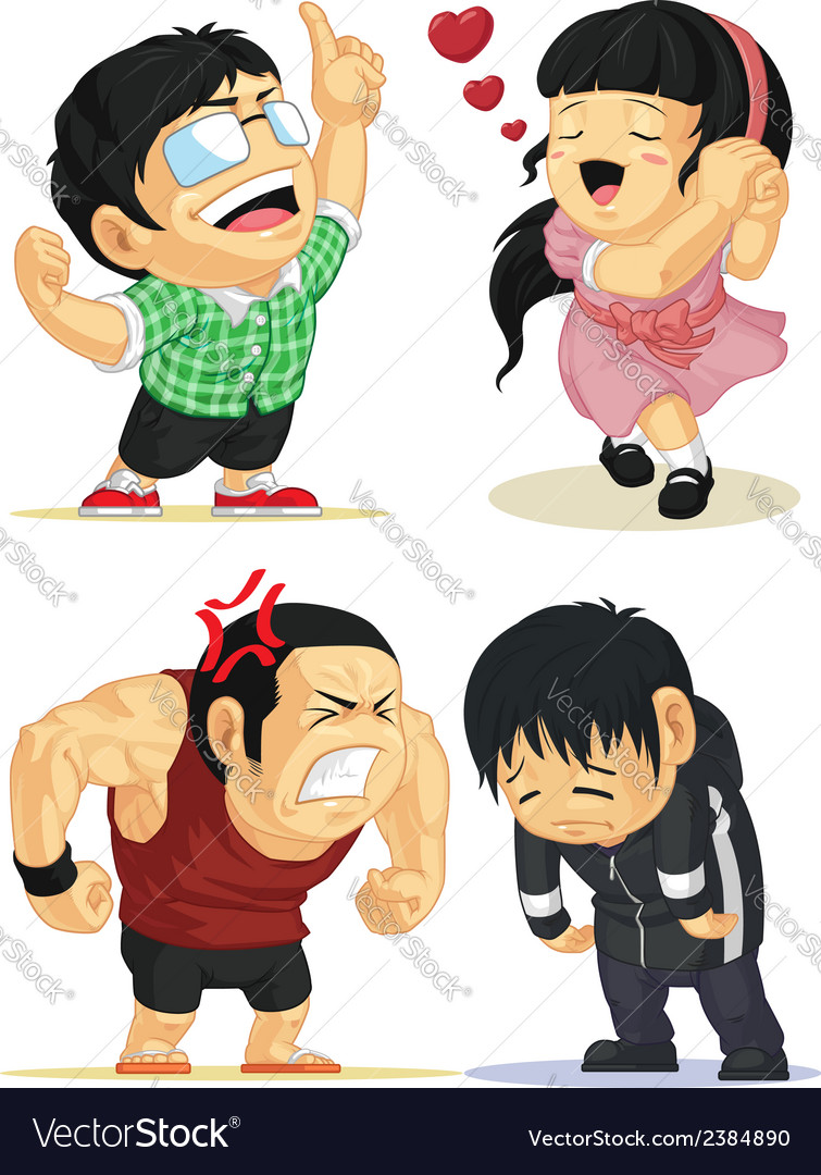 Emotion set eureka love angry sad vector | Price: 1 Credit (USD $1)
