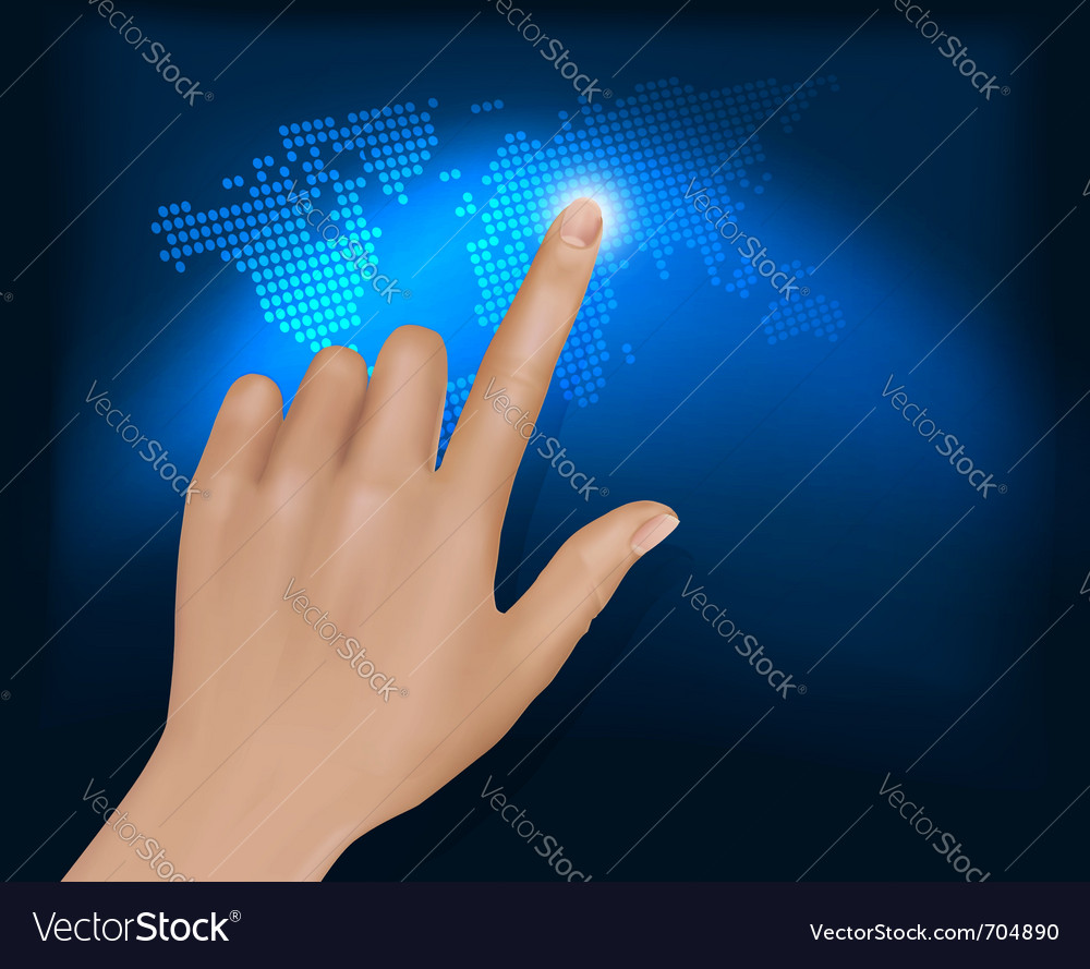 Finger touching world map vector   Price: 3 Credit (USD $3)