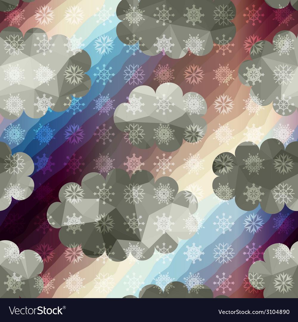 Geometric sky with snowfall vector | Price: 1 Credit (USD $1)