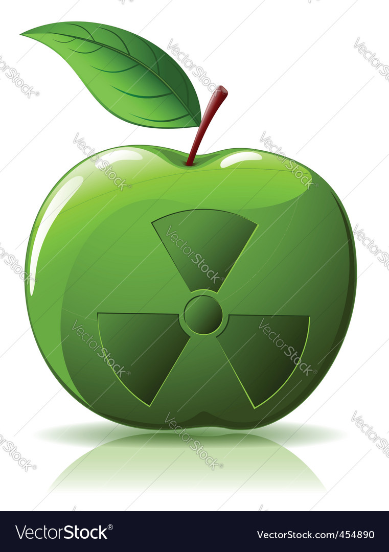Green apple with nuclear sing vector | Price: 1 Credit (USD $1)