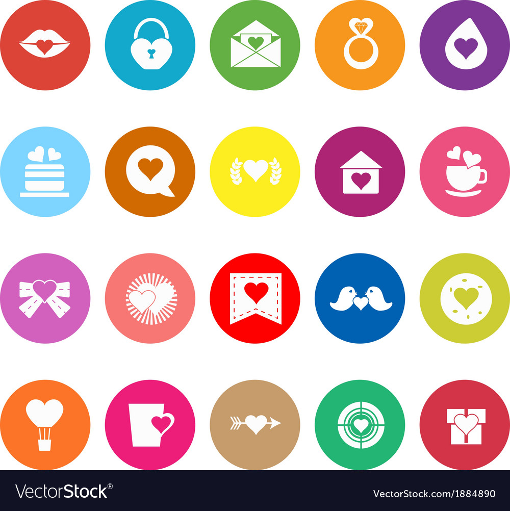 Heart element flat icons on white background vector | Price: 1 Credit (USD $1)