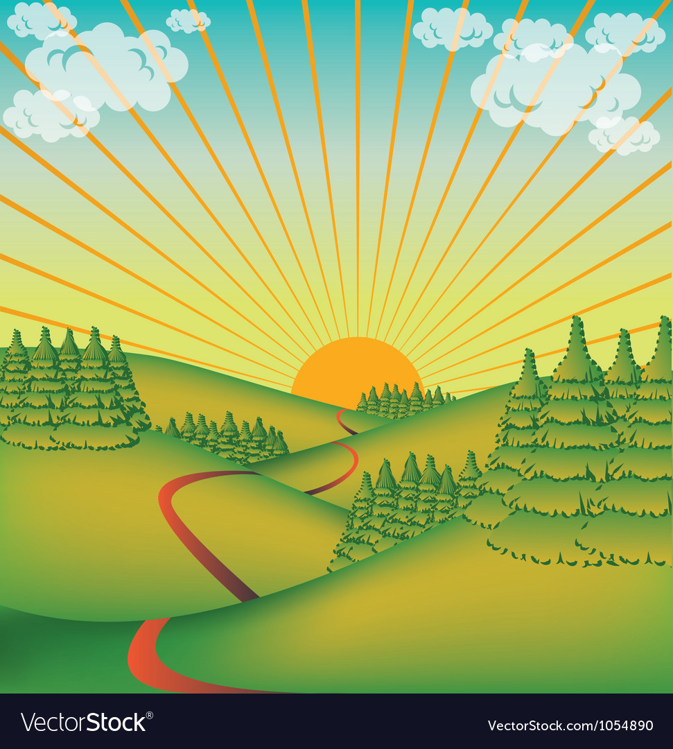 Landscape in the sun vector | Price: 1 Credit (USD $1)