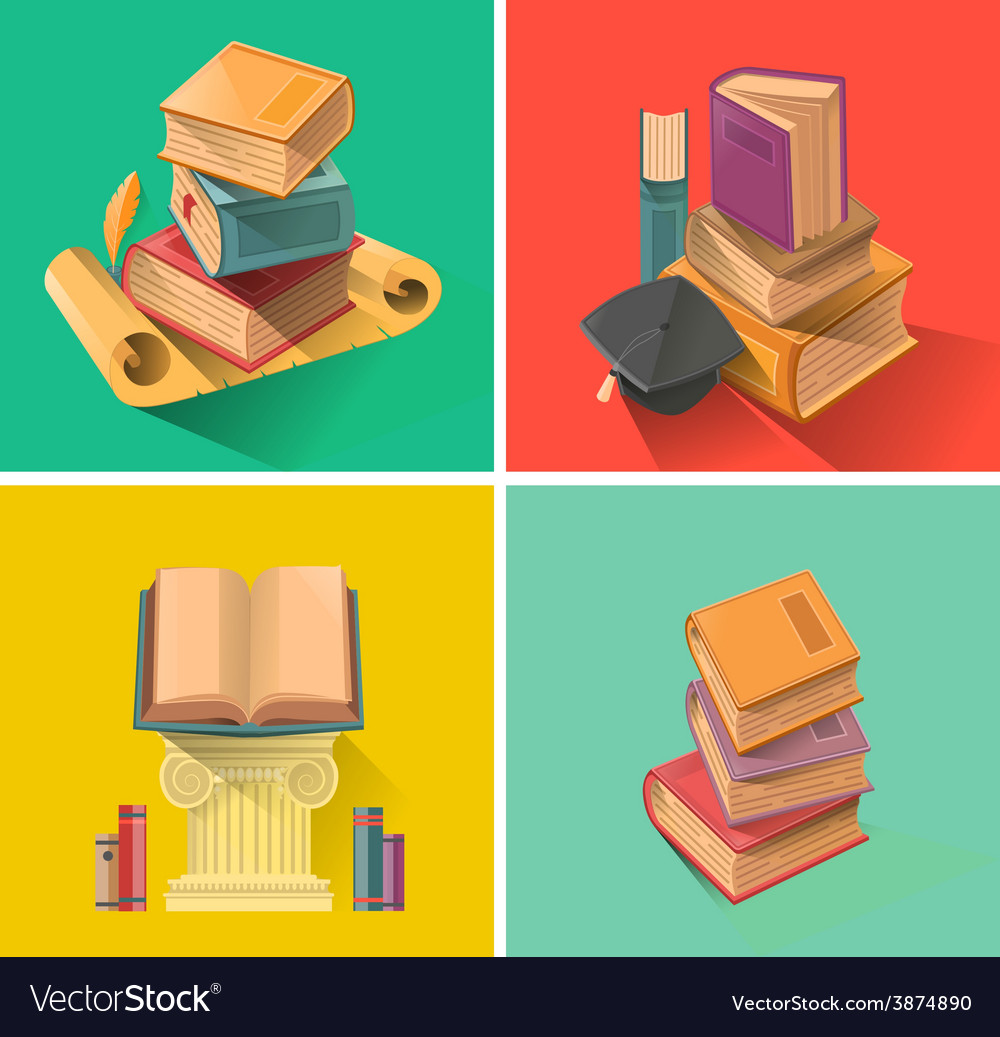 Set of book in flat design vector | Price: 3 Credit (USD $3)