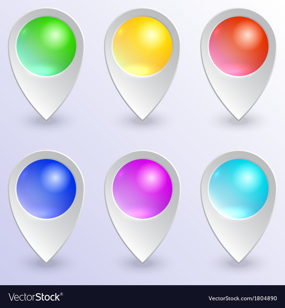 Set of colored map pins vector   Price: 1 Credit (USD $1)