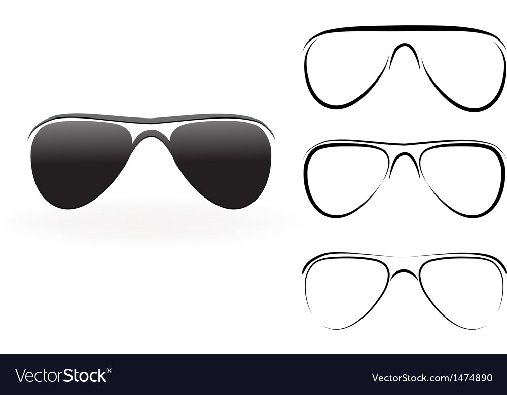 Set of modern glasses and sunglasses isolated on vector | Price: 1 Credit (USD $1)
