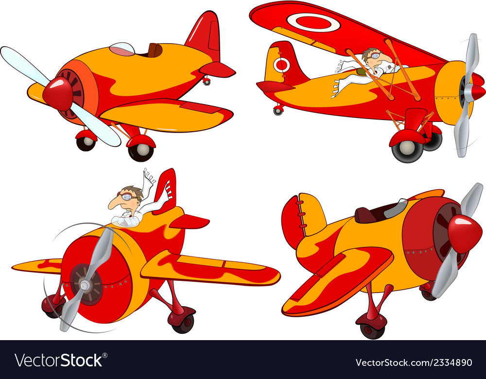 Set of old planes cartoon vector | Price: 1 Credit (USD $1)