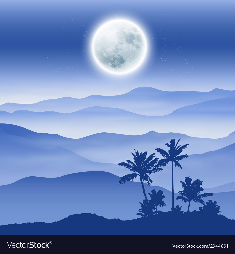 Background with fullmoon palm tree and mountains vector | Price: 1 Credit (USD $1)