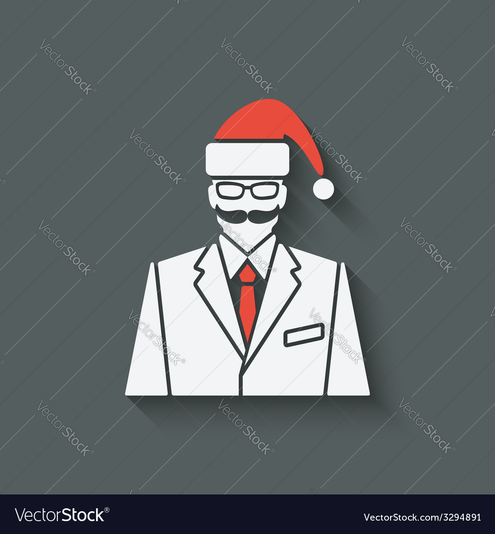 Businessman in santa clause hat vector | Price: 1 Credit (USD $1)