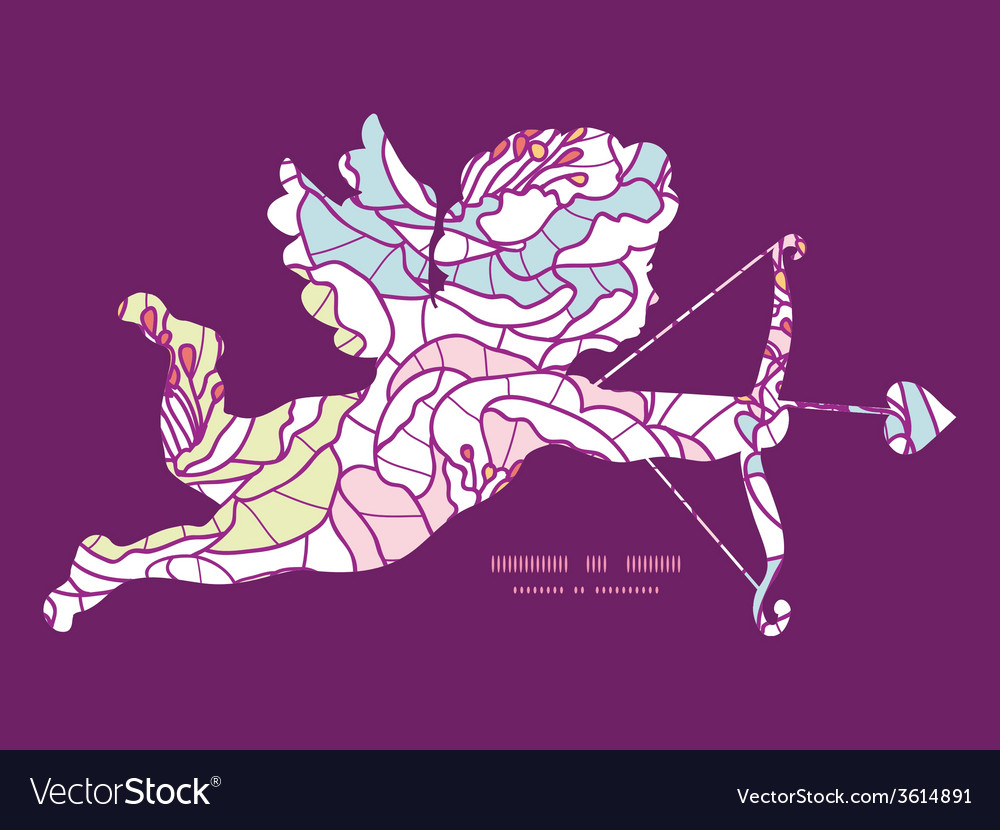 Colorful line art flowers shooting cupid vector | Price: 1 Credit (USD $1)