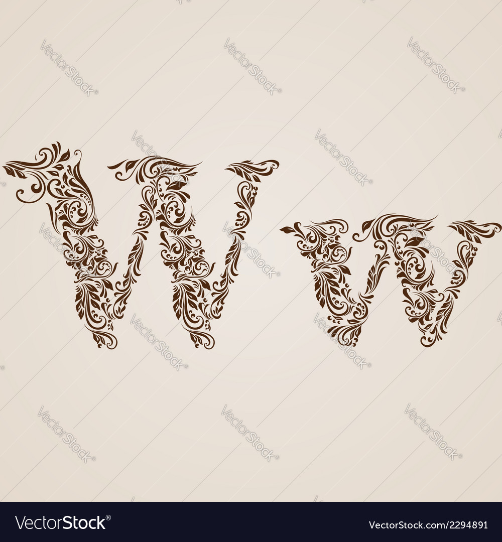 Decorated letter w vector | Price: 1 Credit (USD $1)