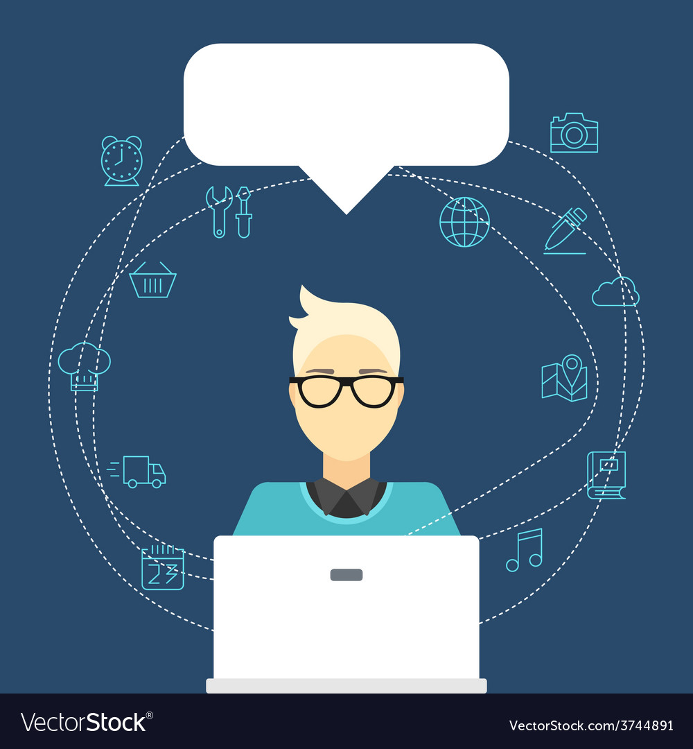 Flat internet concept man with computer an vector | Price: 1 Credit (USD $1)