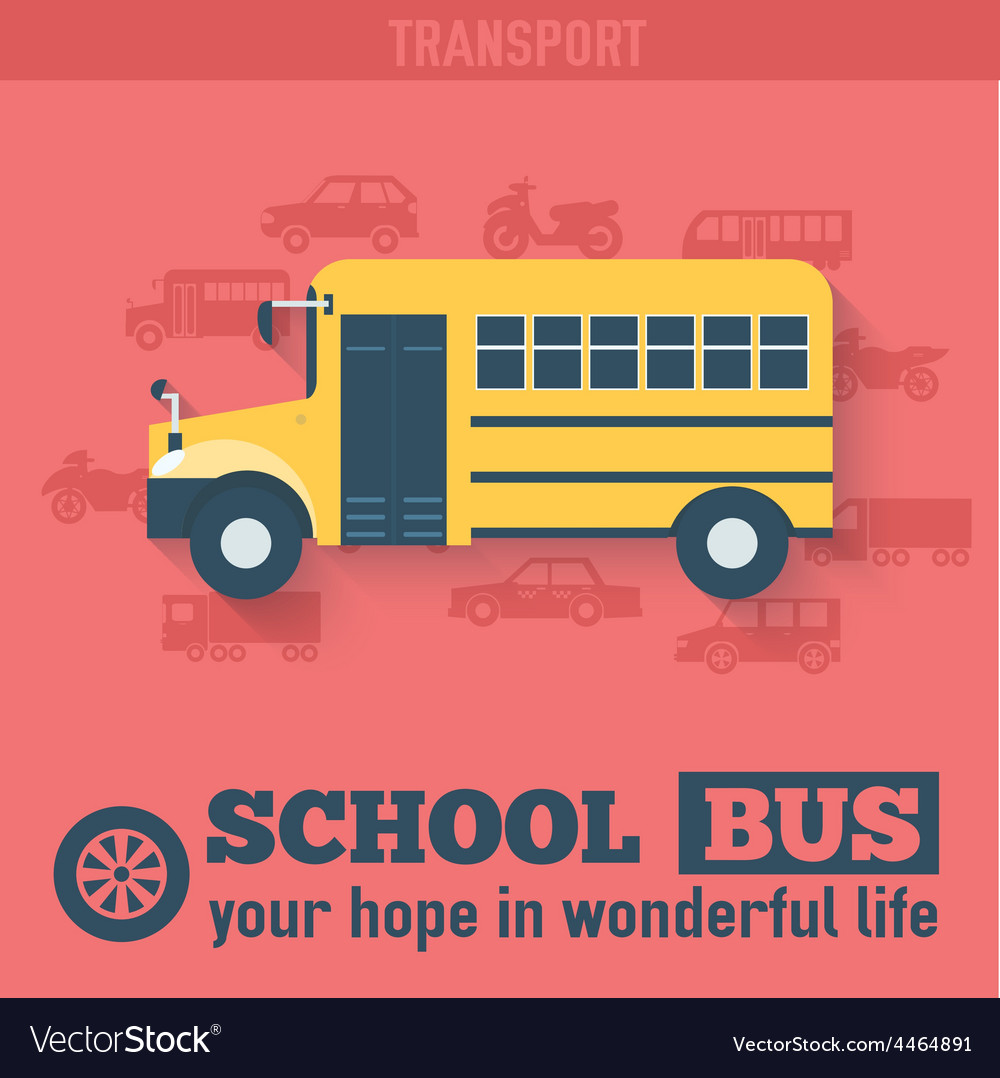 Flat school bus background vector | Price: 1 Credit (USD $1)