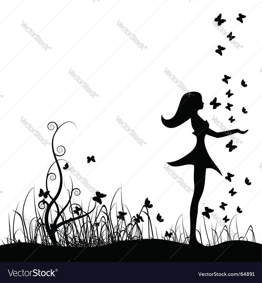 Girl on meadow vector | Price: 1 Credit (USD $1)