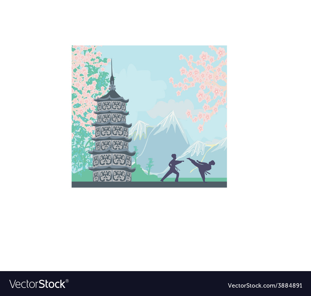 Karate occupations - chinese landscapeabstract vector | Price: 1 Credit (USD $1)