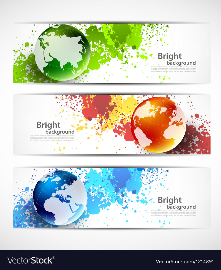 Set of banners with globes vector | Price: 1 Credit (USD $1)