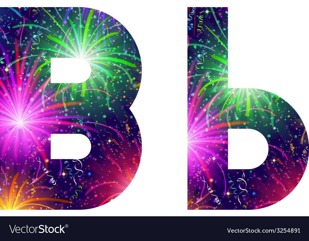 Set of letters firework b vector | Price: 1 Credit (USD $1)