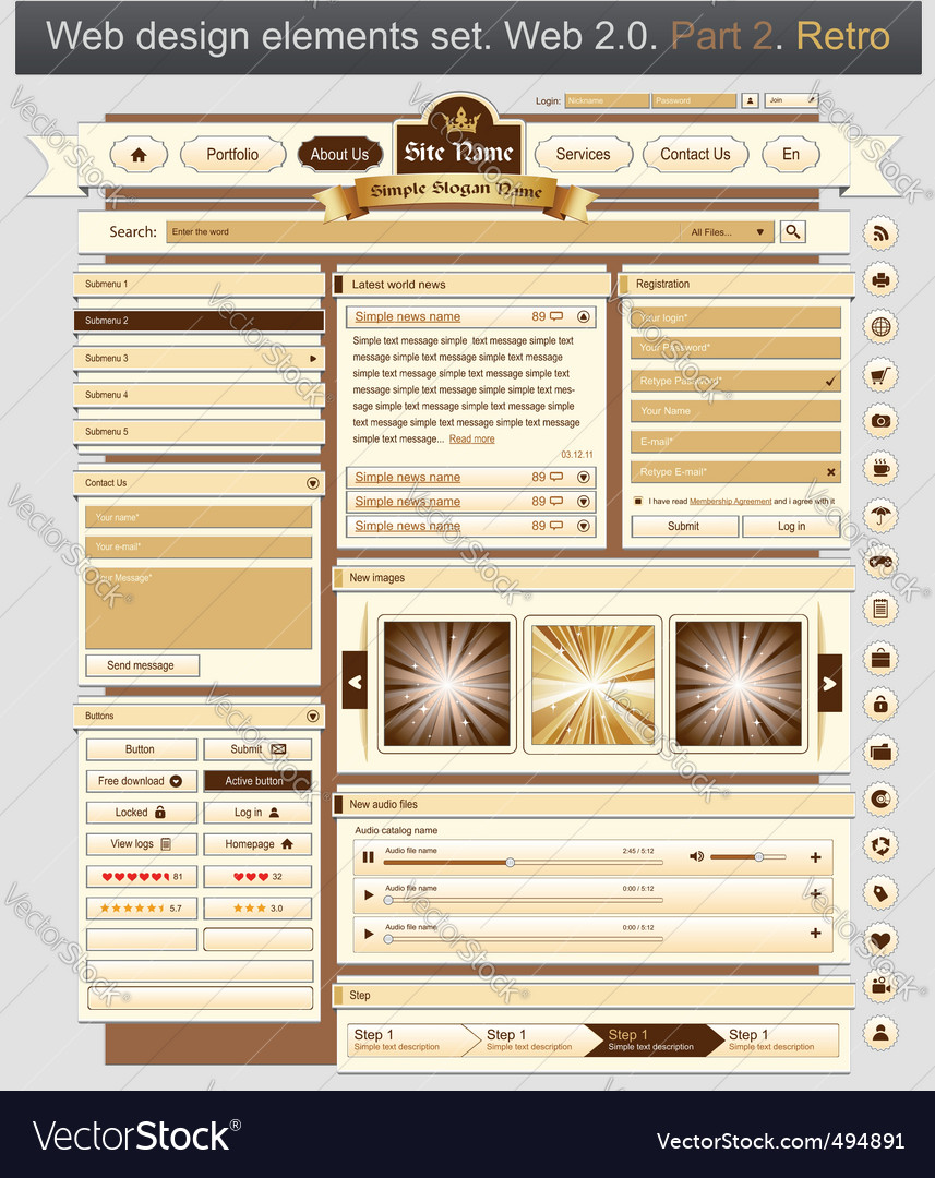 Web design set retro 2 vector | Price: 3 Credit (USD $3)