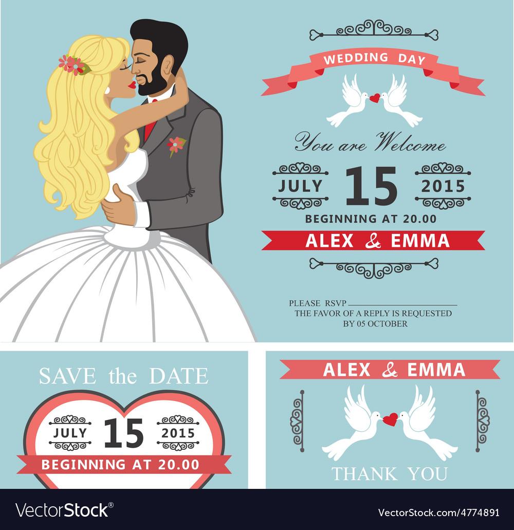 Wedding invitation setkissing cartoon bride and vector | Price: 1 Credit (USD $1)