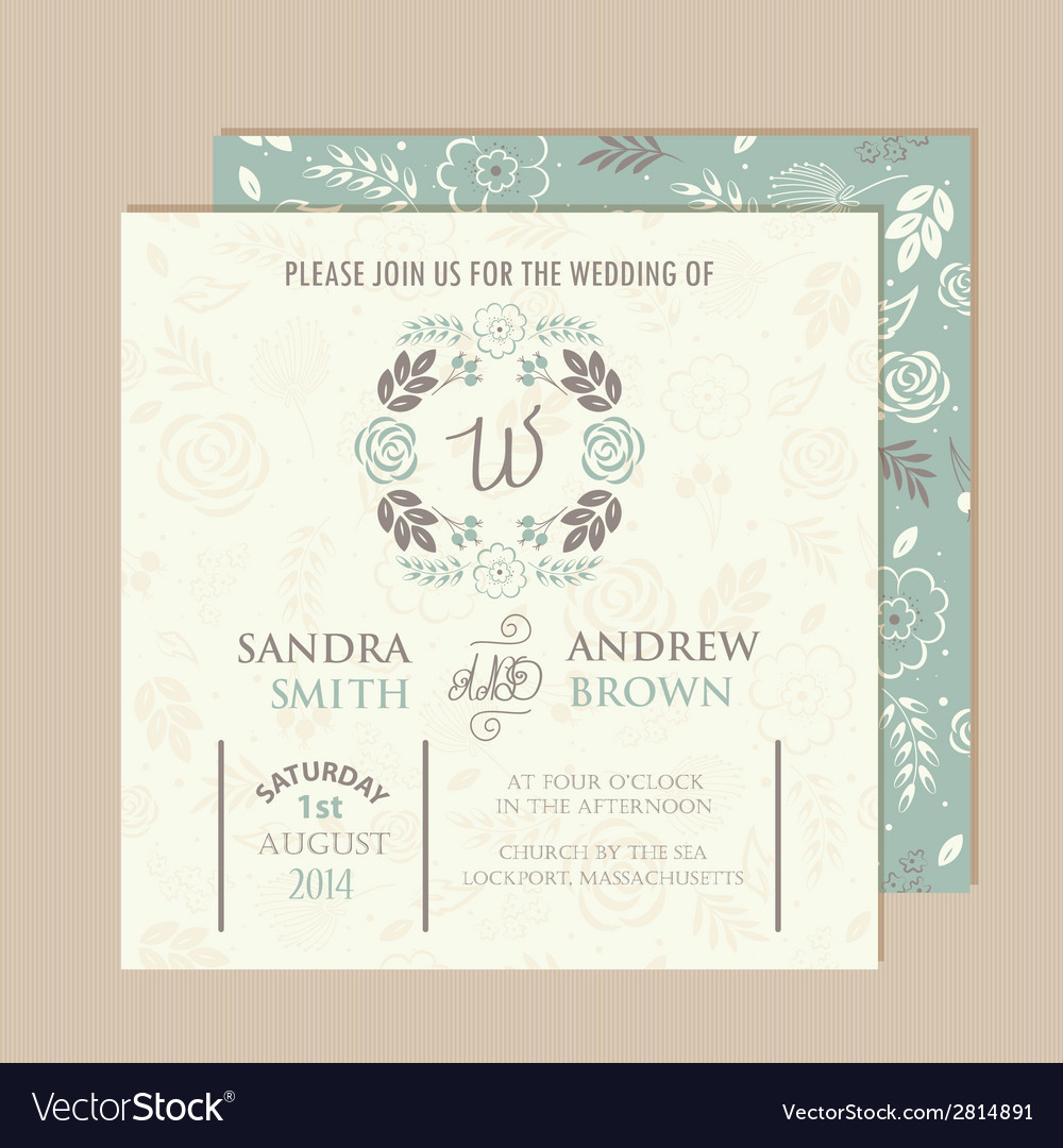 Wedding vintage invitation vector | Price: 1 Credit (USD $1)