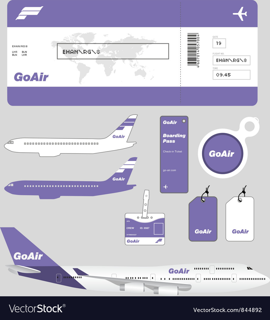 Airline brand and plane tickets vector | Price: 1 Credit (USD $1)