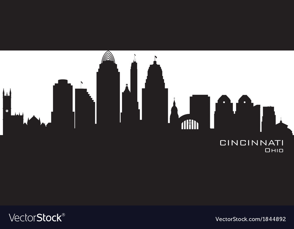 Cincinnati ohio skyline detailed silhouette vector | Price: 1 Credit (USD $1)
