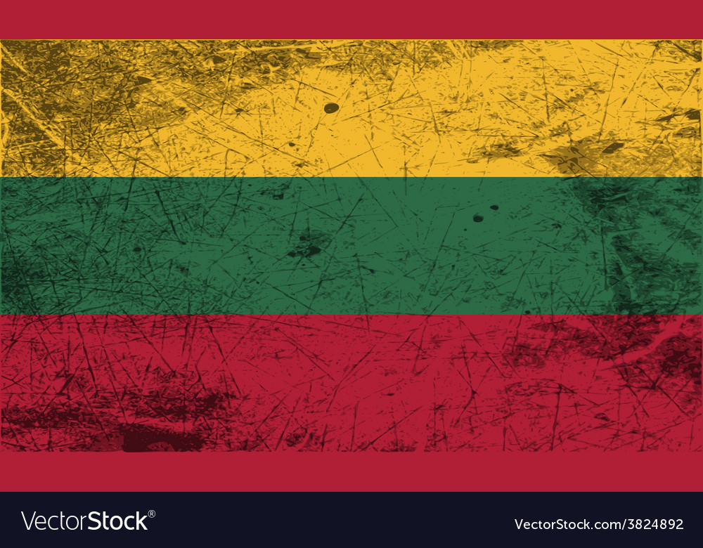 Flag of lithuania with old texture vector | Price: 1 Credit (USD $1)