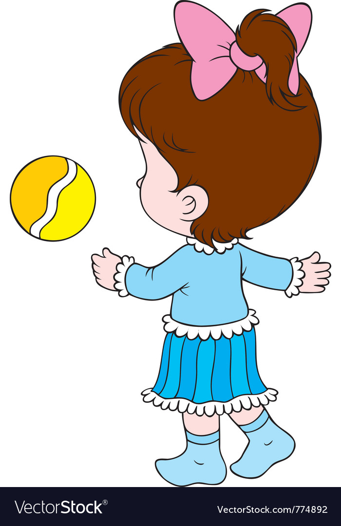 Girl with a ball vector | Price: 3 Credit (USD $3)