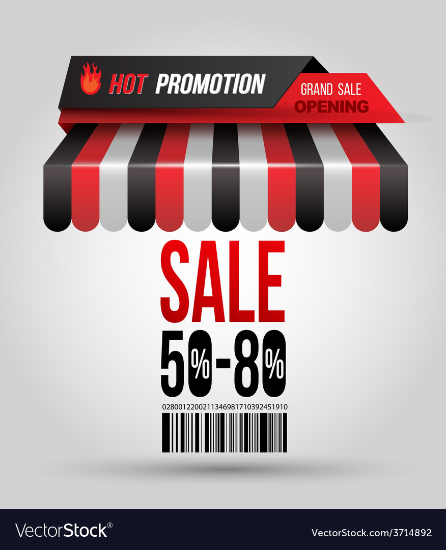 Hot promotion sale poster roof shop vector | Price: 1 Credit (USD $1)