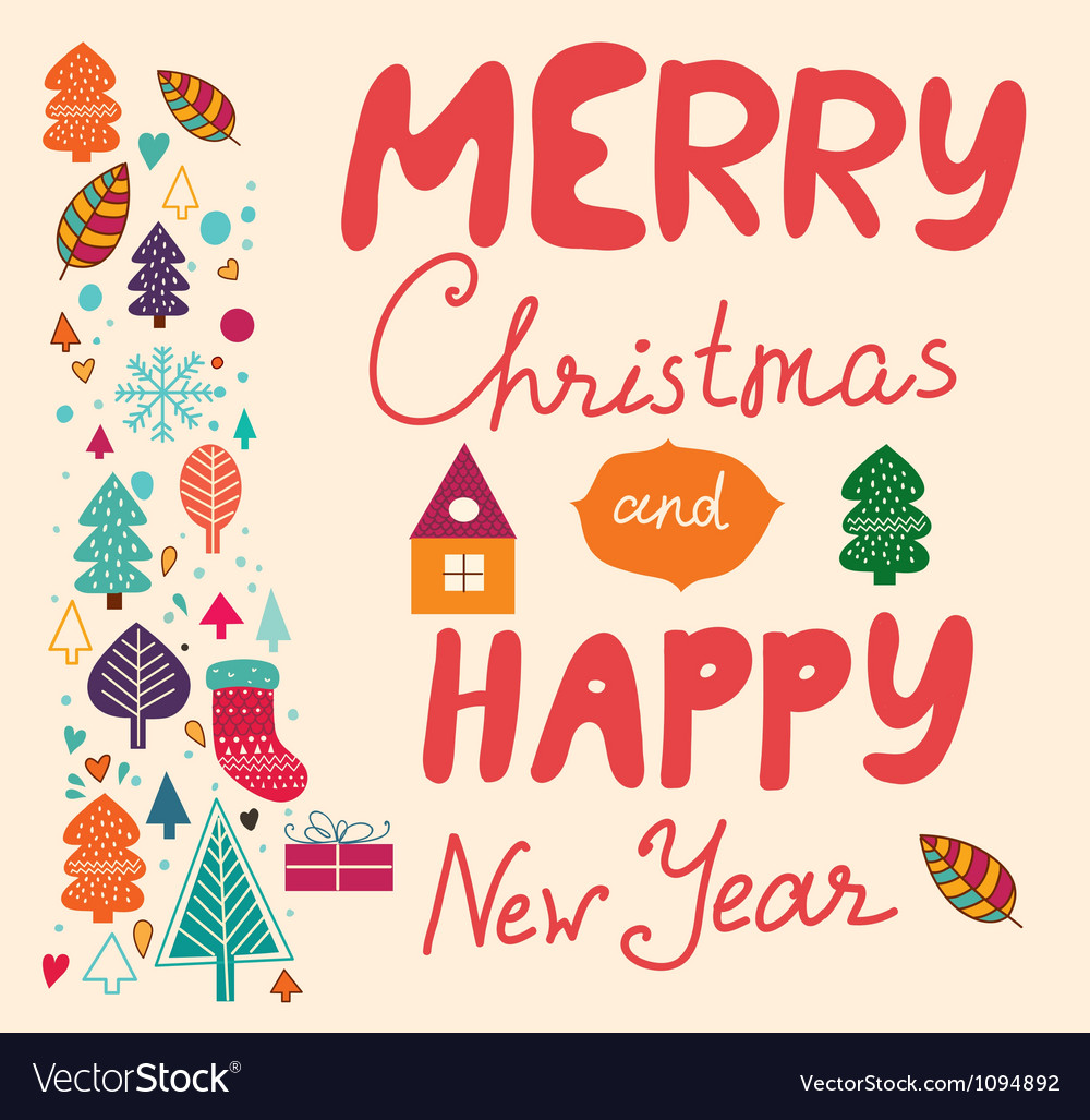 Merry xmas happy new year vector | Price: 1 Credit (USD $1)