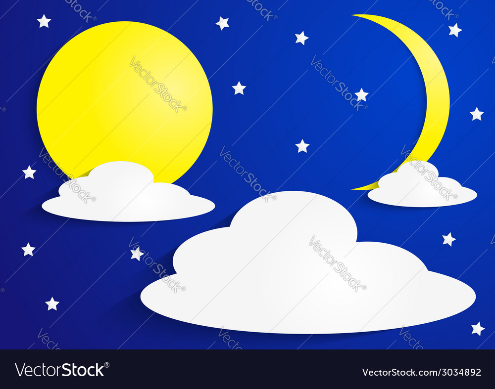 Paper full moon and crescent moon with clouds vector | Price: 1 Credit (USD $1)