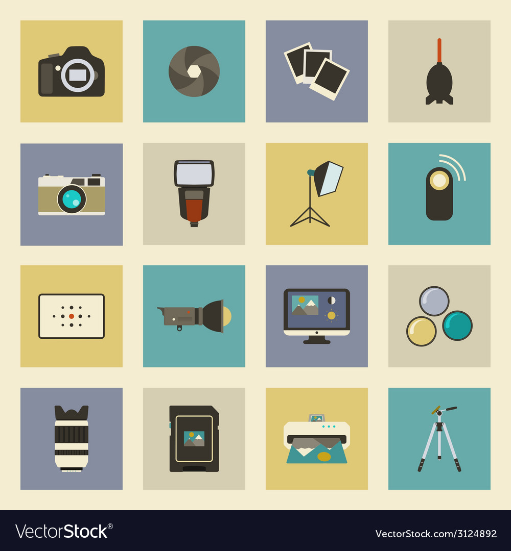 Photo equipment flat icons set vector   Price: 1 Credit (USD $1)