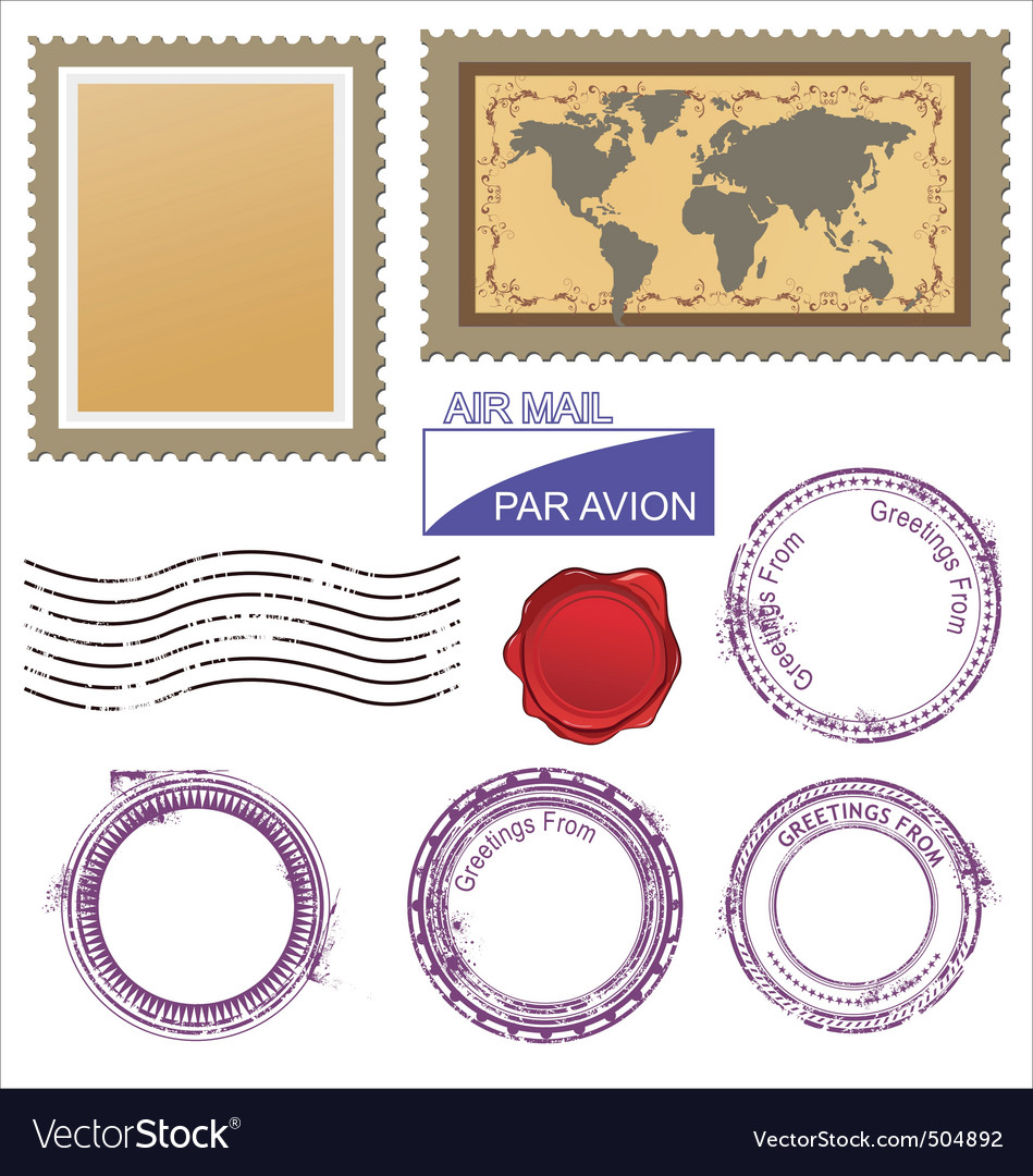 Postage stamps set vector | Price: 3 Credit (USD $3)