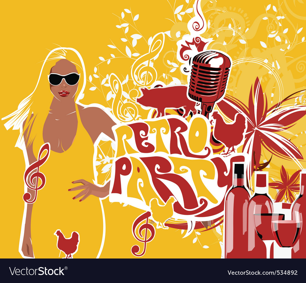 Retro party girl background vector | Price: 1 Credit (USD $1)
