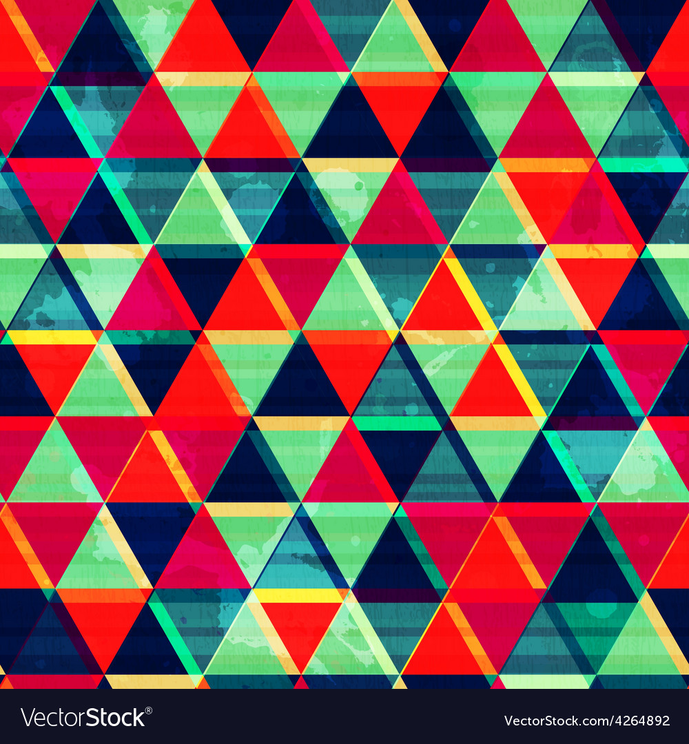Retro triangle mosaic seamless pattern with grunge vector | Price: 1 Credit (USD $1)