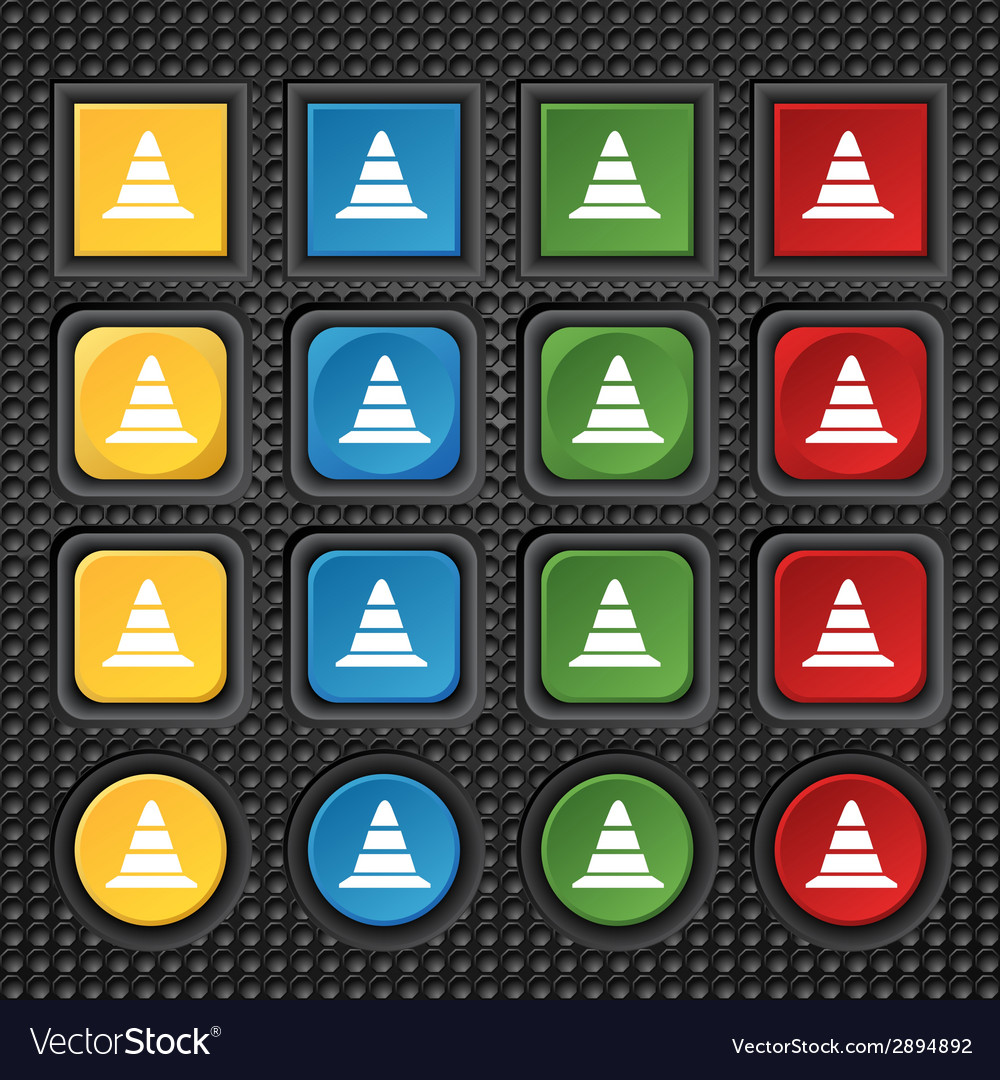 Road cone icon set colourful buttons vector | Price: 1 Credit (USD $1)
