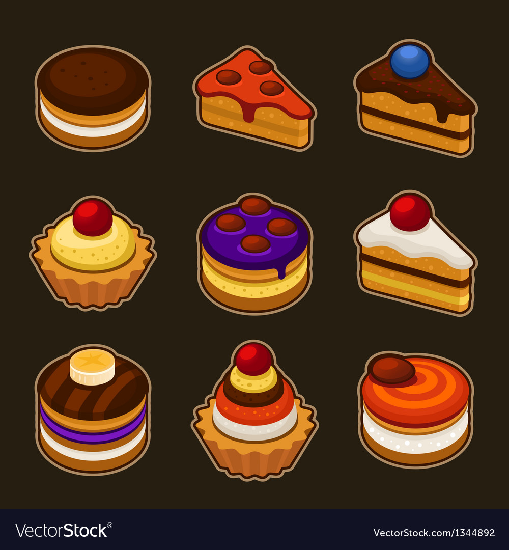 Set of cupcakes icons vector | Price: 3 Credit (USD $3)