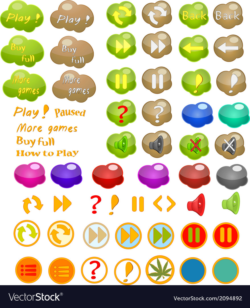 Set of icons for a computer game vector | Price: 1 Credit (USD $1)