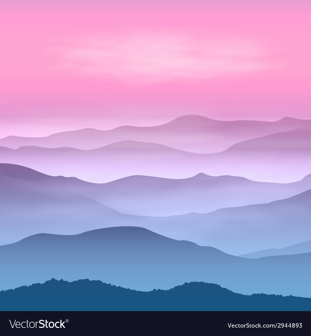 Background with mountains in the fog vector | Price: 1 Credit (USD $1)