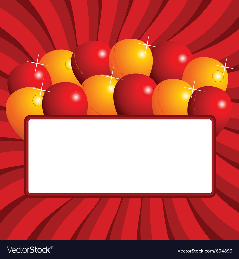 Balloons with negative space over red starry backg vector | Price: 1 Credit (USD $1)
