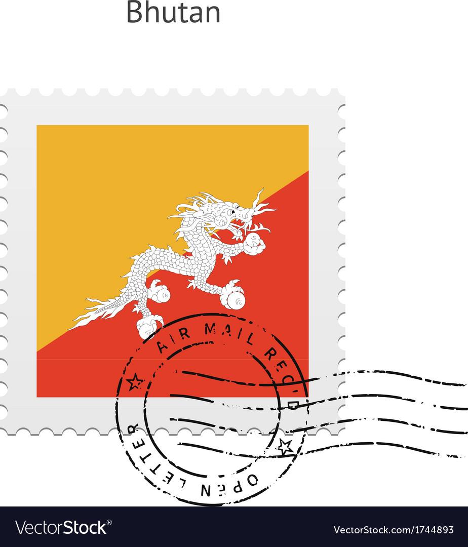 Bhutan flag postage stamp vector   Price: 1 Credit (USD $1)