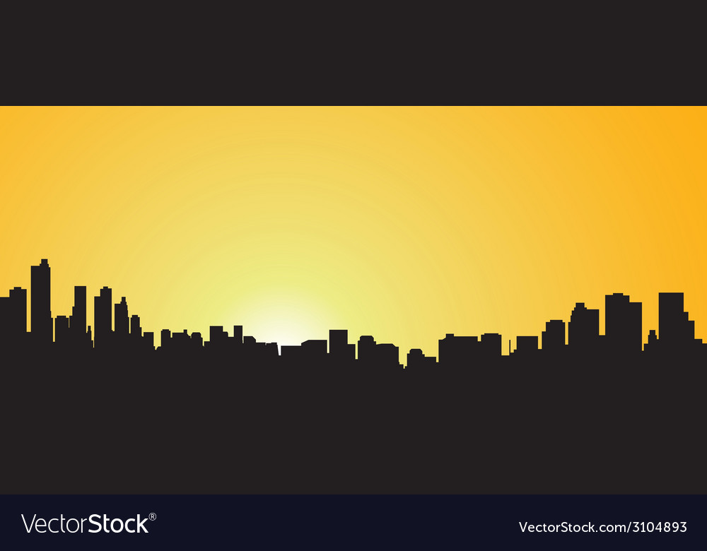 City contour against the coming sun vector | Price: 1 Credit (USD $1)