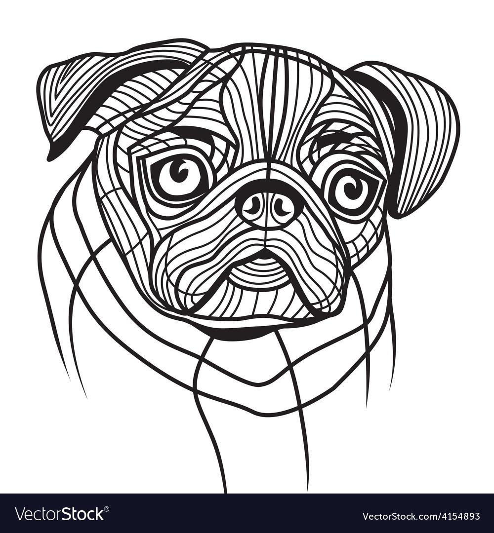 Dog pug head vector | Price: 1 Credit (USD $1)