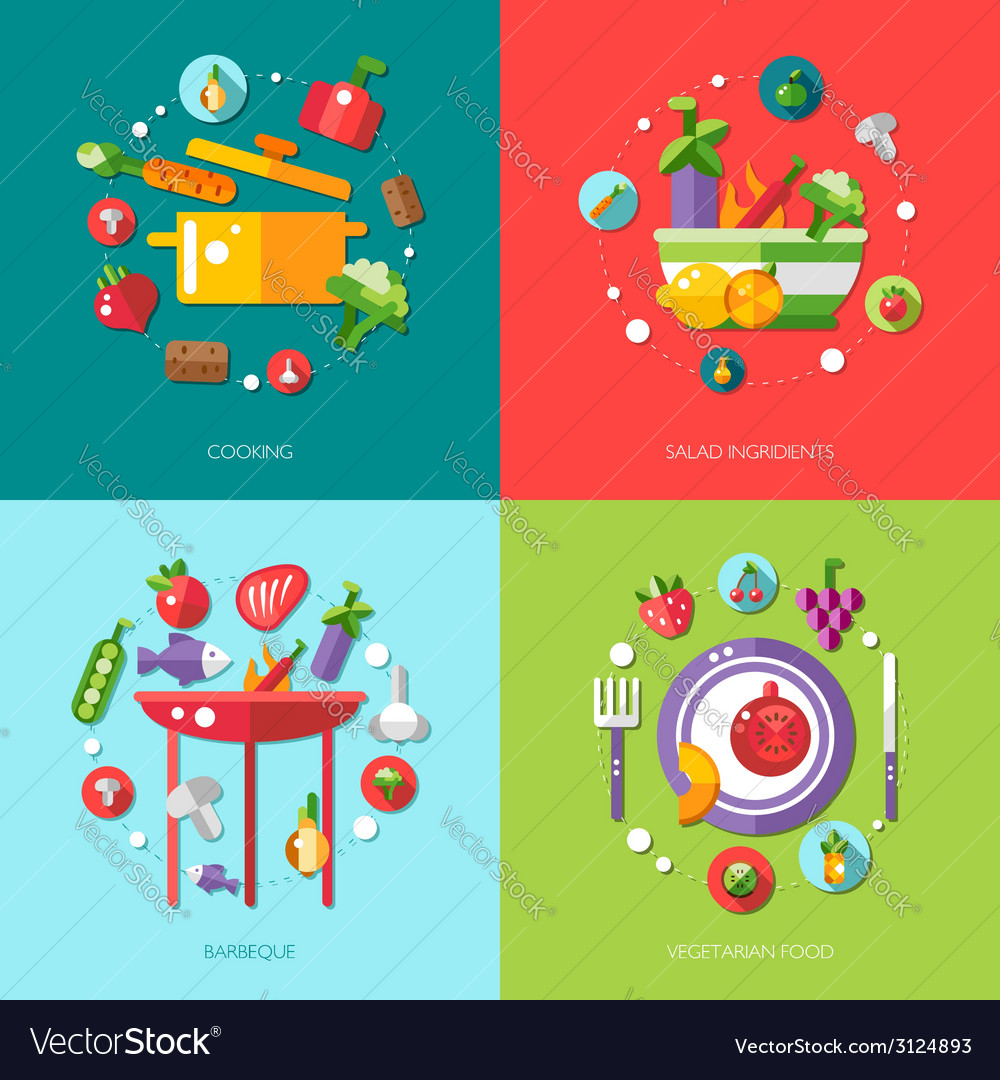 Flat design food fruits and vegetables icons co vector | Price: 1 Credit (USD $1)