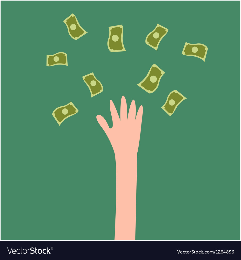Lucky hand with fly money vector | Price: 1 Credit (USD $1)