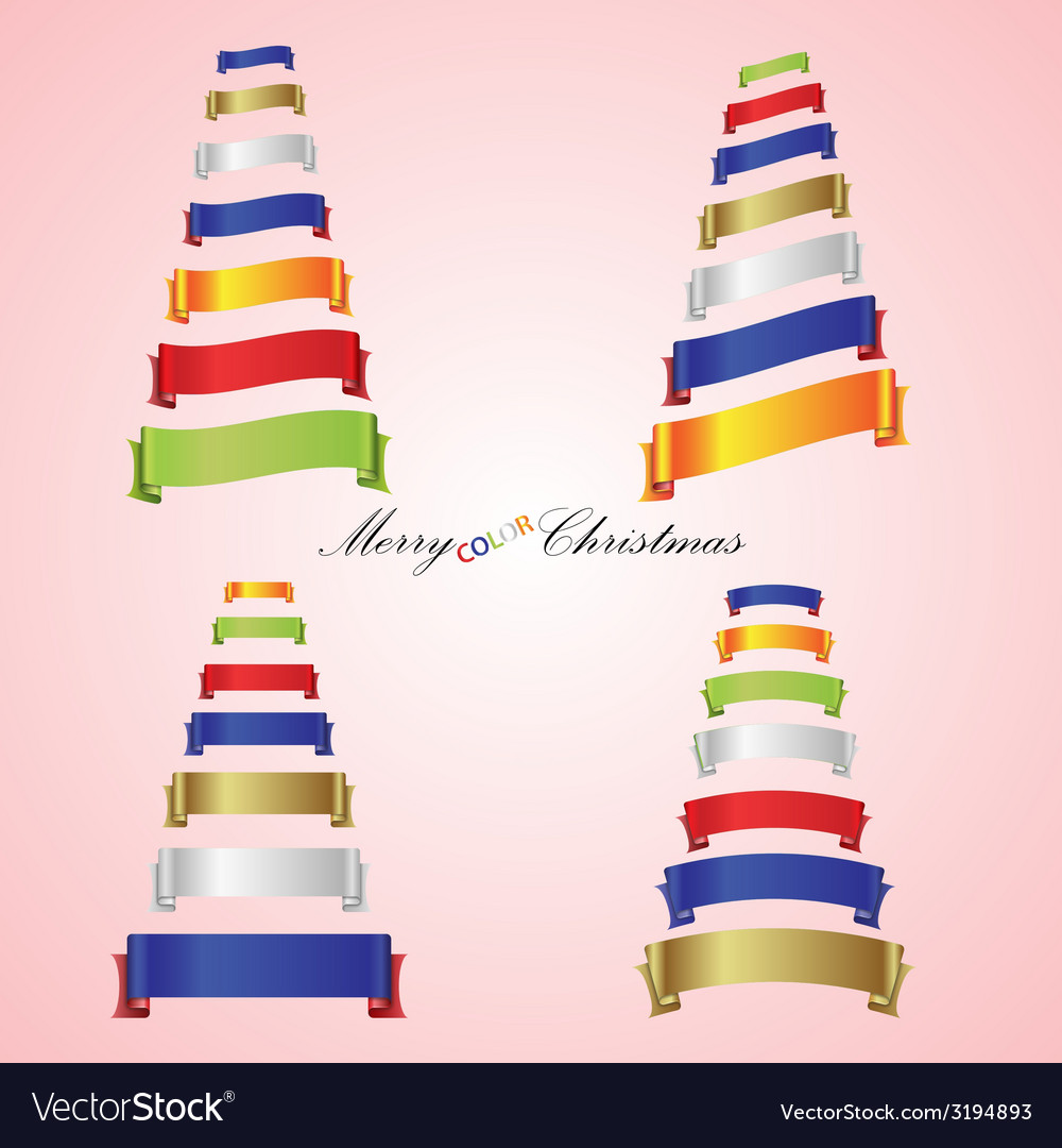 Merry christmas trees from color ribbon banners vector | Price: 1 Credit (USD $1)