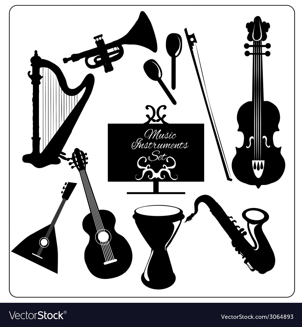 Music instruments black vector | Price: 1 Credit (USD $1)