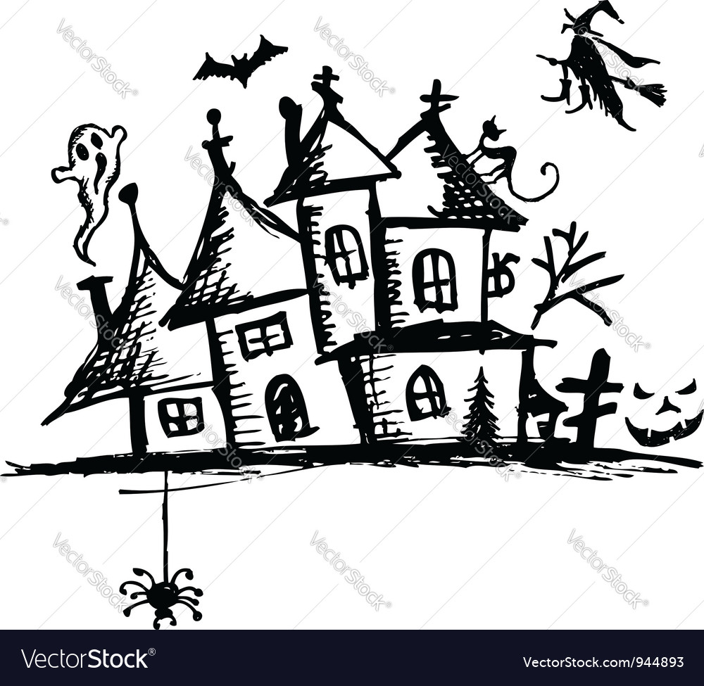 Old mystery house halloween night vector | Price: 1 Credit (USD $1)