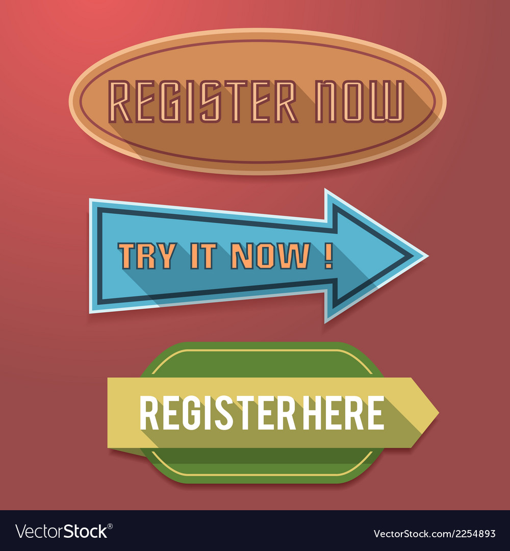 Register now label vector | Price: 1 Credit (USD $1)