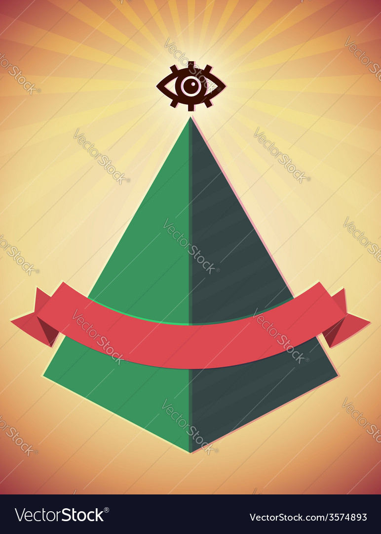 Retro poster with all seeing eye and pyramid vector | Price: 1 Credit (USD $1)